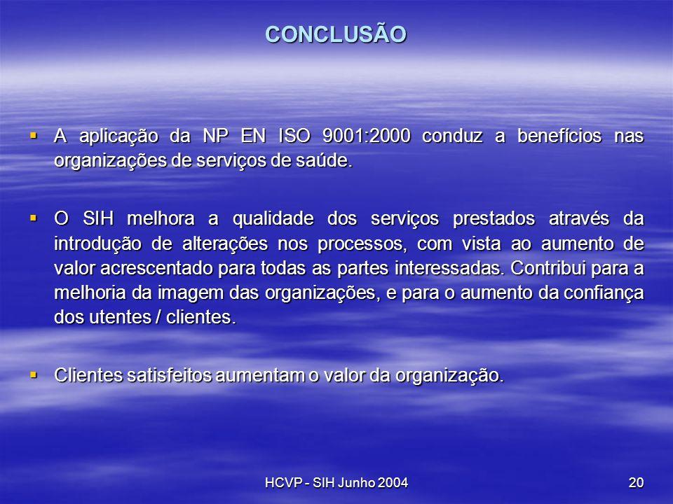 CONCLUSÃO A aplicação da NP EN ISO 9001:2000 conduz a benefícios nas organizações de serviços de saúde.