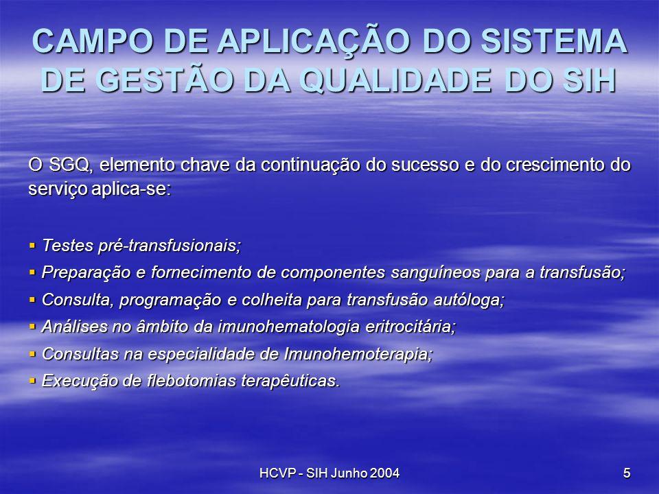 CAMPO DE APLICAÇÃO DO SISTEMA DE GESTÃO DA QUALIDADE DO SIH