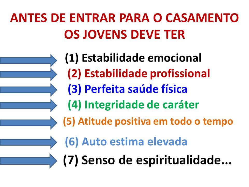 ANTES DE ENTRAR PARA O CASAMENTO OS JOVENS DEVE TER