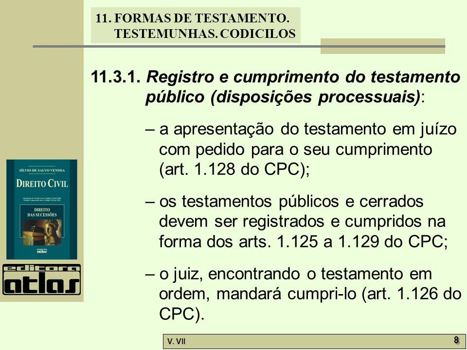 11.3.1. Registro e cumprimento do testamento público (disposições processuais):