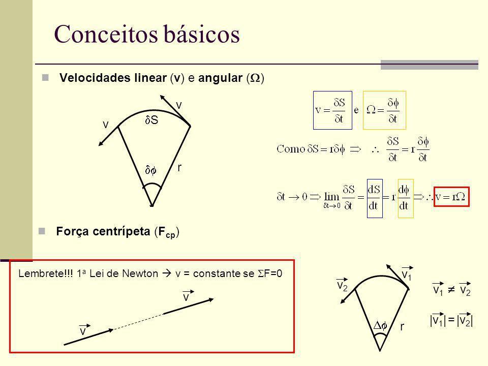 Conceitos básicos Velocidades linear (v) e angular ()  S v r
