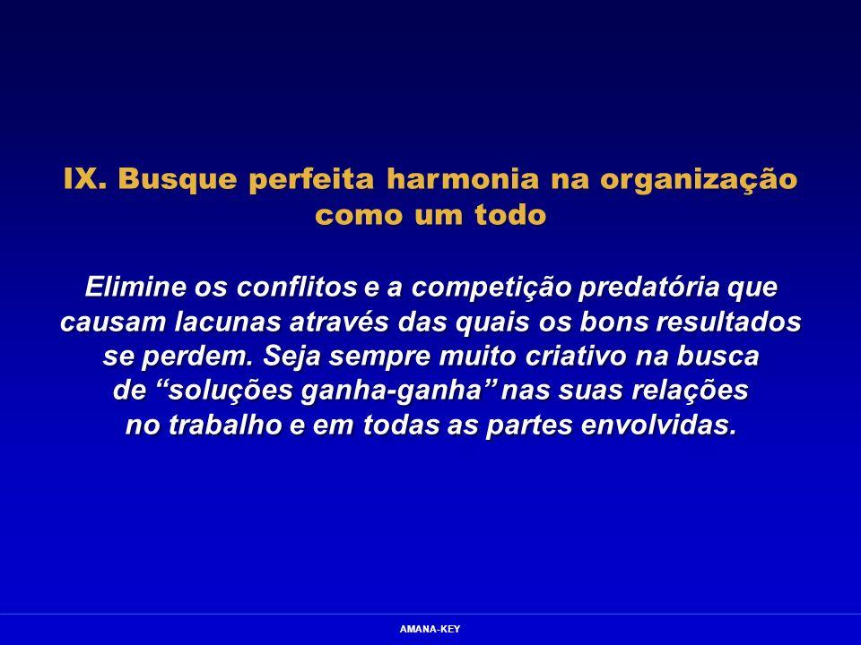 IX. Busque perfeita harmonia na organização como um todo
