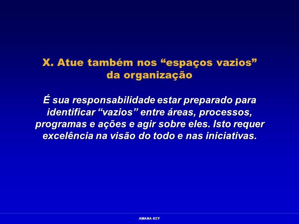 X. Atue também nos espaços vazios da organização