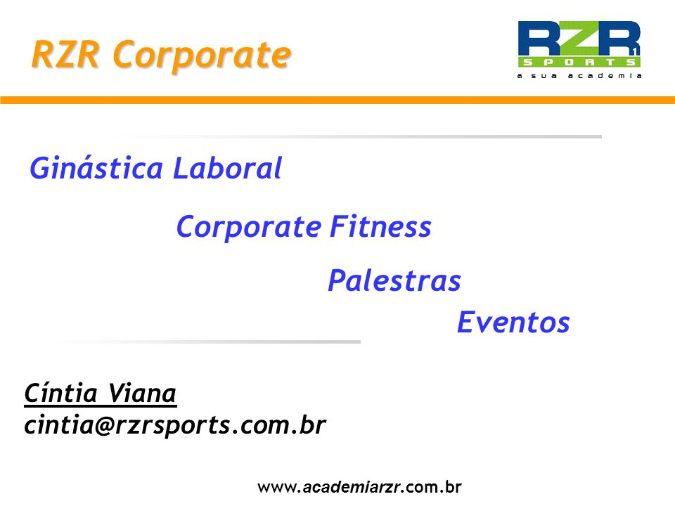 RZR Corporate Ginástica Laboral Corporate Fitness Palestras Eventos