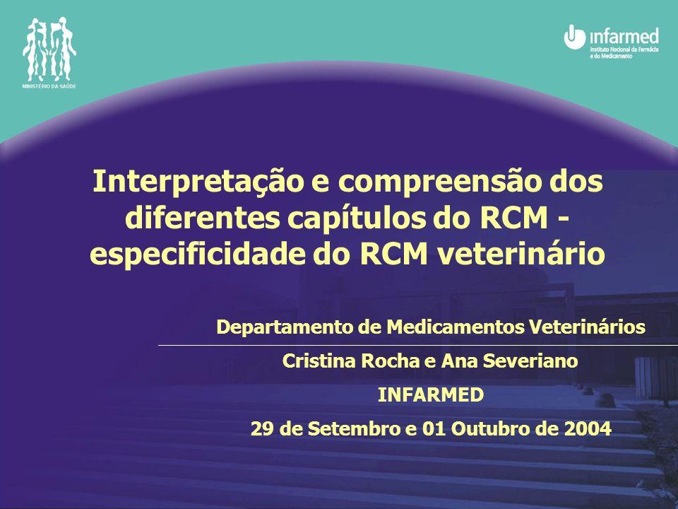 Interpretação e compreensão dos diferentes capítulos do RCM - especificidade do RCM veterinário