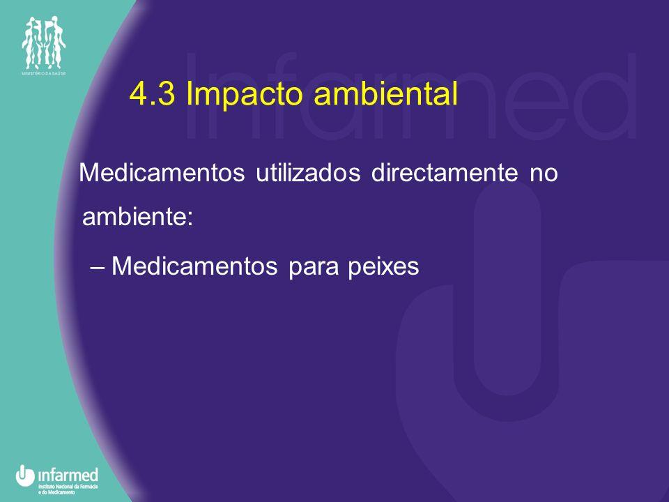 4.3 Impacto ambiental Medicamentos utilizados directamente no ambiente: Medicamentos para peixes