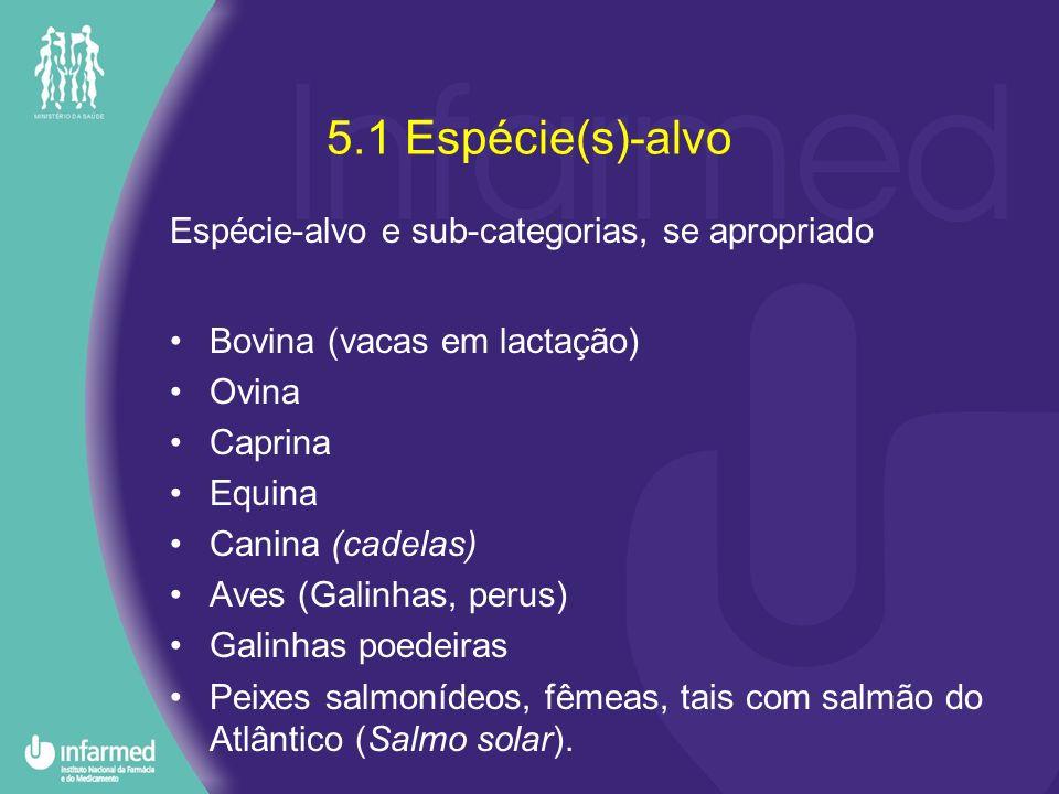 5.1 Espécie(s)-alvo Espécie-alvo e sub-categorias, se apropriado