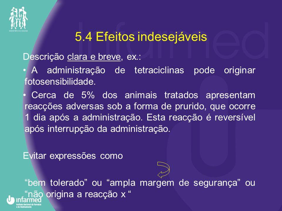 5.4 Efeitos indesejáveis Descrição clara e breve, ex.: