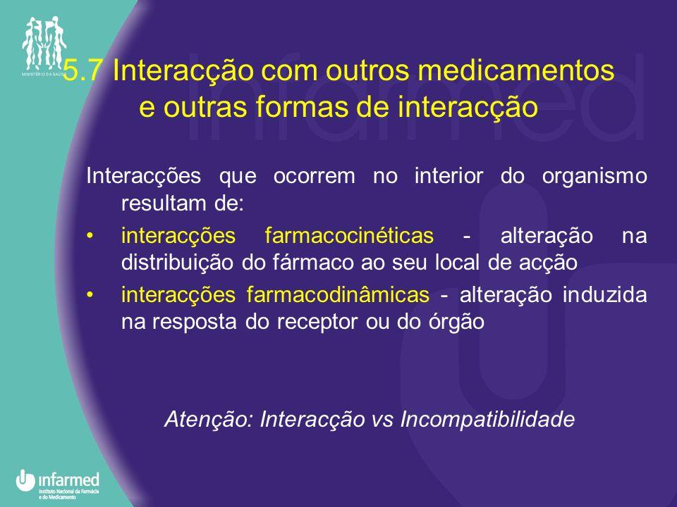 5.7 Interacção com outros medicamentos e outras formas de interacção