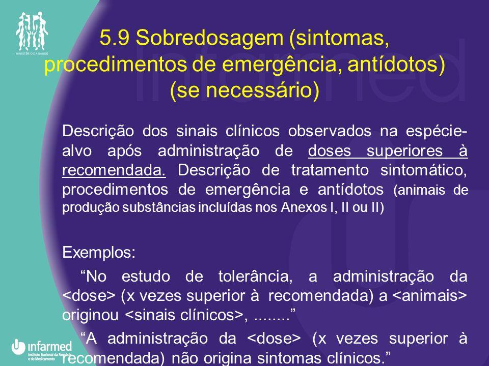 5.9 Sobredosagem (sintomas, procedimentos de emergência, antídotos) (se necessário)
