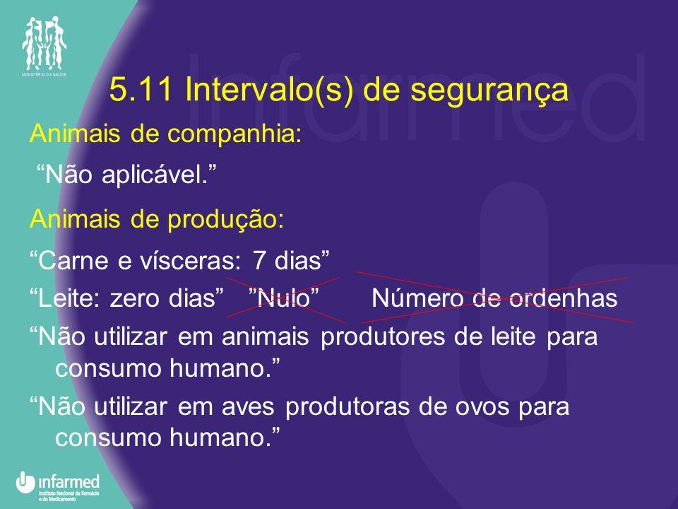 5.11 Intervalo(s) de segurança