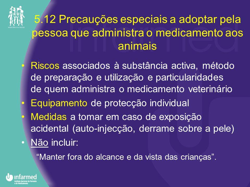 5.12 Precauções especiais a adoptar pela pessoa que administra o medicamento aos animais