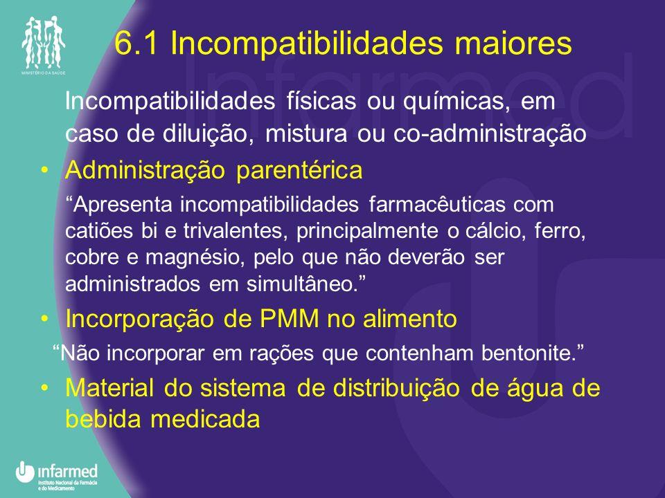 6.1 Incompatibilidades maiores