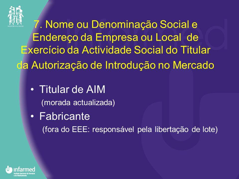 7. Nome ou Denominação Social e Endereço da Empresa ou Local de Exercício da Actividade Social do Titular da Autorização de Introdução no Mercado