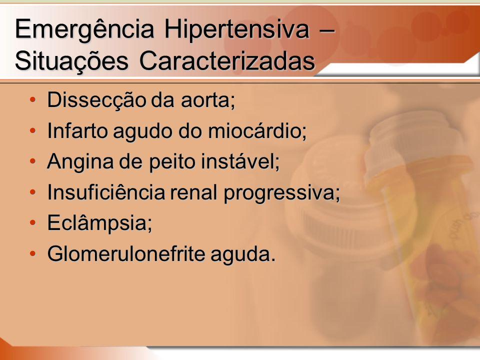 Emergência Hipertensiva – Situações Caracterizadas