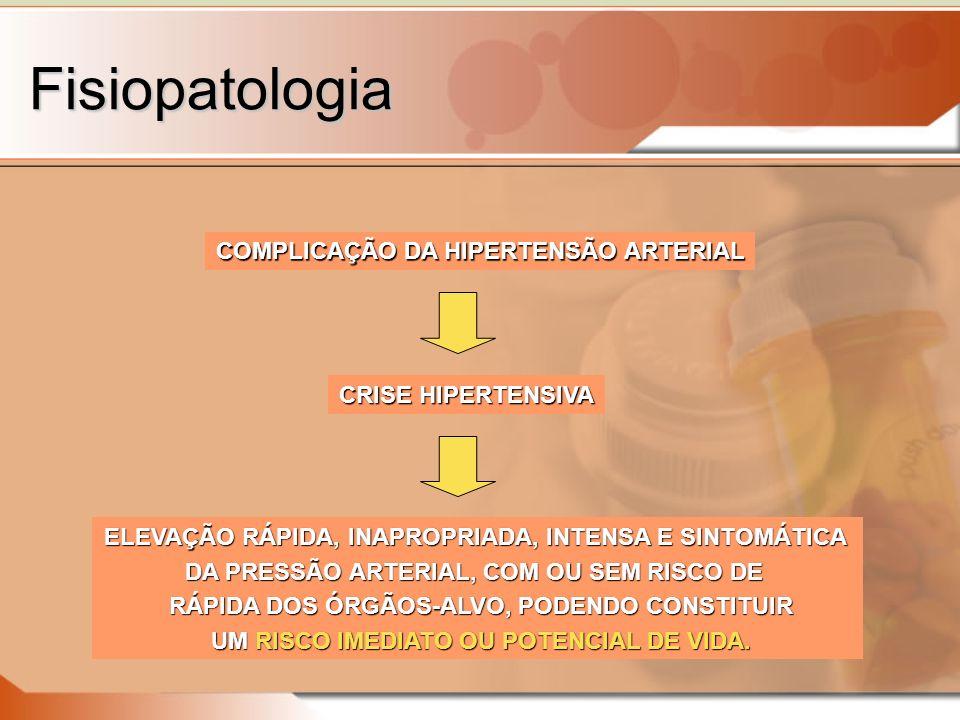 Fisiopatologia COMPLICAÇÃO DA HIPERTENSÃO ARTERIAL CRISE HIPERTENSIVA