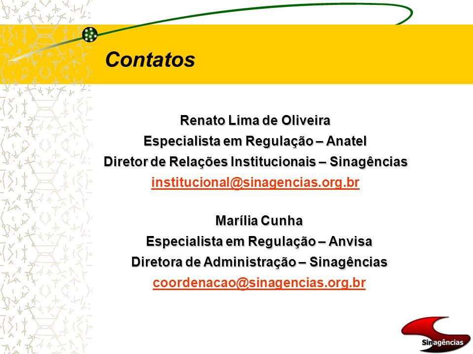 Contatos Renato Lima de Oliveira Especialista em Regulação – Anatel