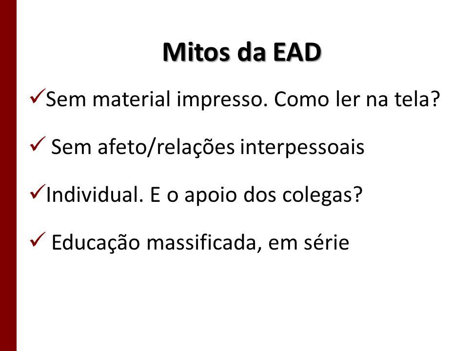 Mitos da EAD Sem material impresso. Como ler na tela