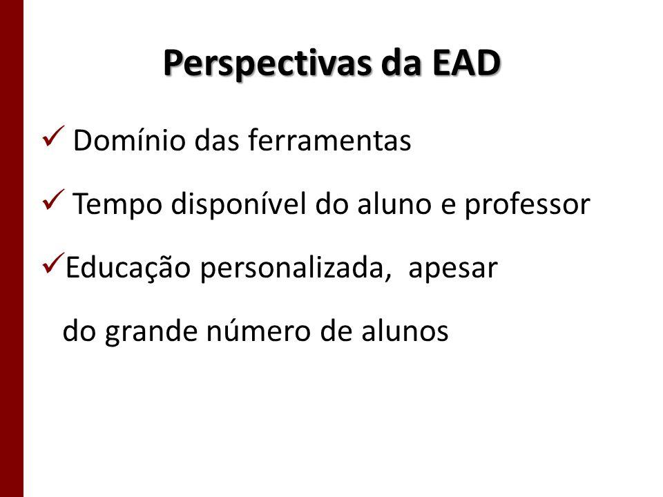 Perspectivas da EAD Domínio das ferramentas