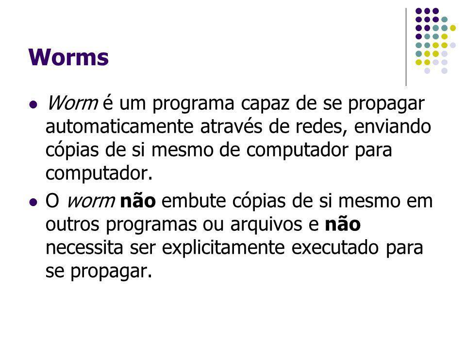 Worms Worm é um programa capaz de se propagar automaticamente através de redes, enviando cópias de si mesmo de computador para computador.