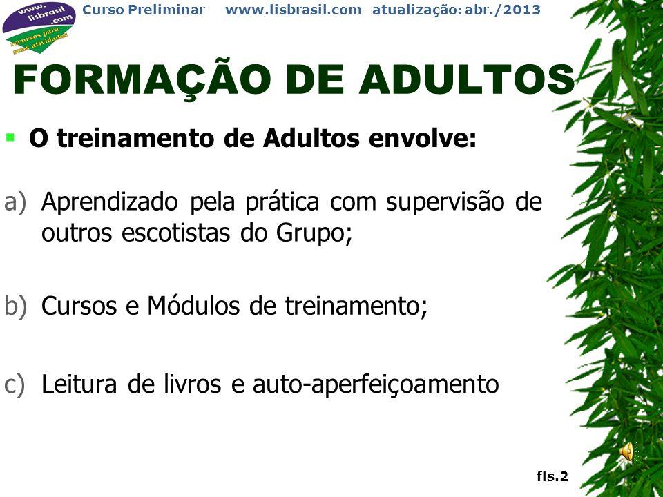 FORMAÇÃO DE ADULTOS O treinamento de Adultos envolve: