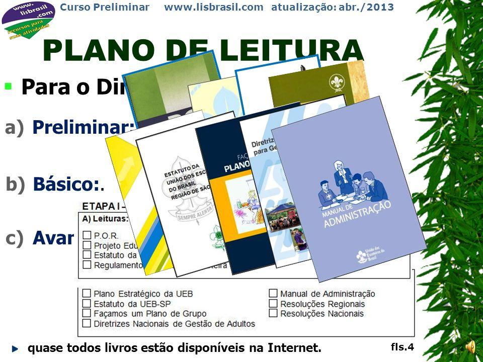 PLANO DE LEITURA Para o Dirigente Institucional: