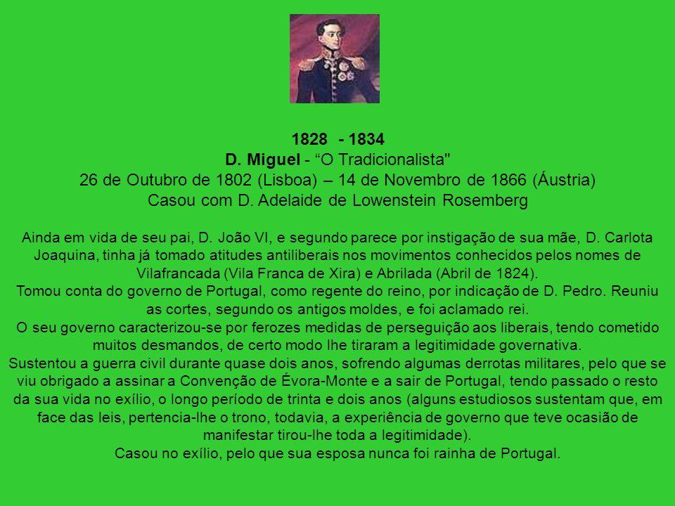 Casou no exílio, pelo que sua esposa nunca foi rainha de Portugal.