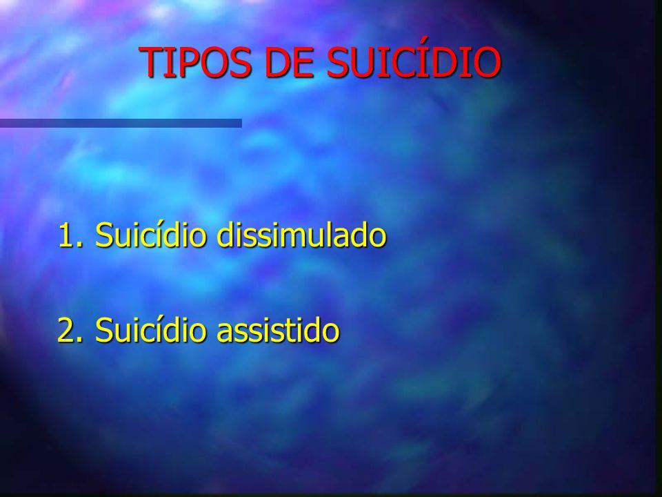 TIPOS DE SUICÍDIO 1. Suicídio dissimulado 2. Suicídio assistido