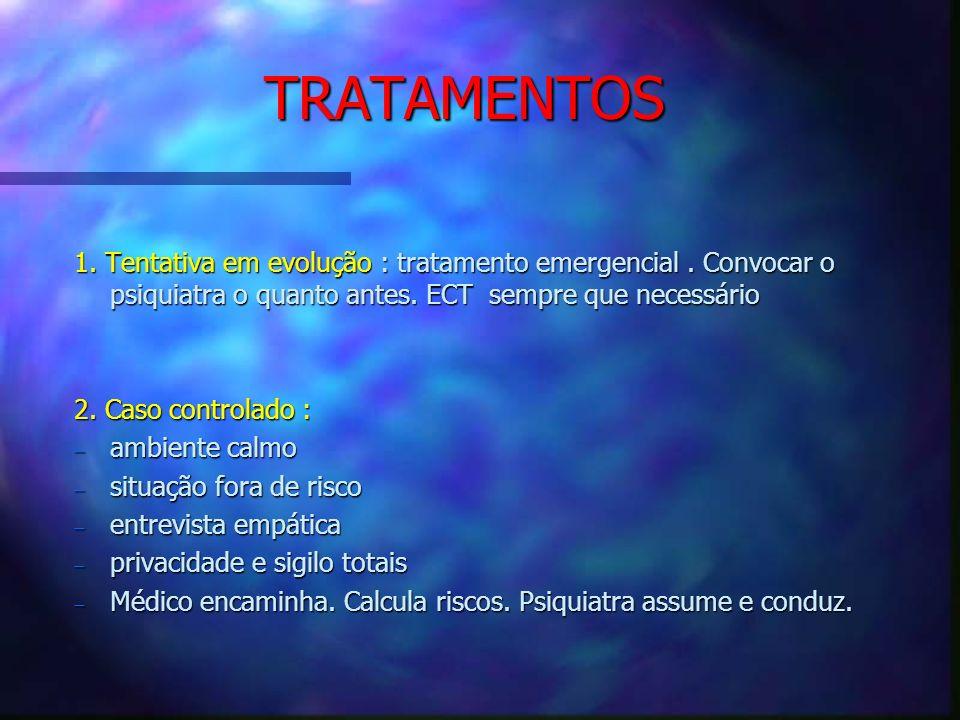 TRATAMENTOS 1. Tentativa em evolução : tratamento emergencial . Convocar o psiquiatra o quanto antes. ECT sempre que necessário.