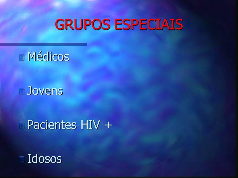 GRUPOS ESPECIAIS Médicos Jovens Pacientes HIV + Idosos
