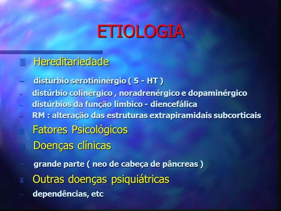 ETIOLOGIA Hereditariedade distúrbio serotininérgio ( 5 - HT )