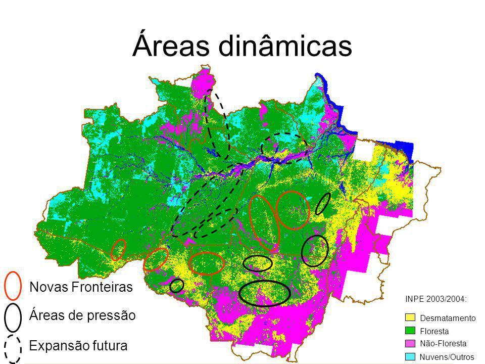 Áreas dinâmicas Novas Fronteiras Áreas de pressão Expansão futura