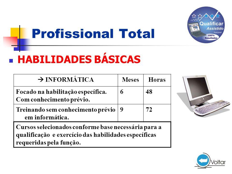 Profissional Total HABILIDADES BÁSICAS  INFORMÁTICA Meses Horas