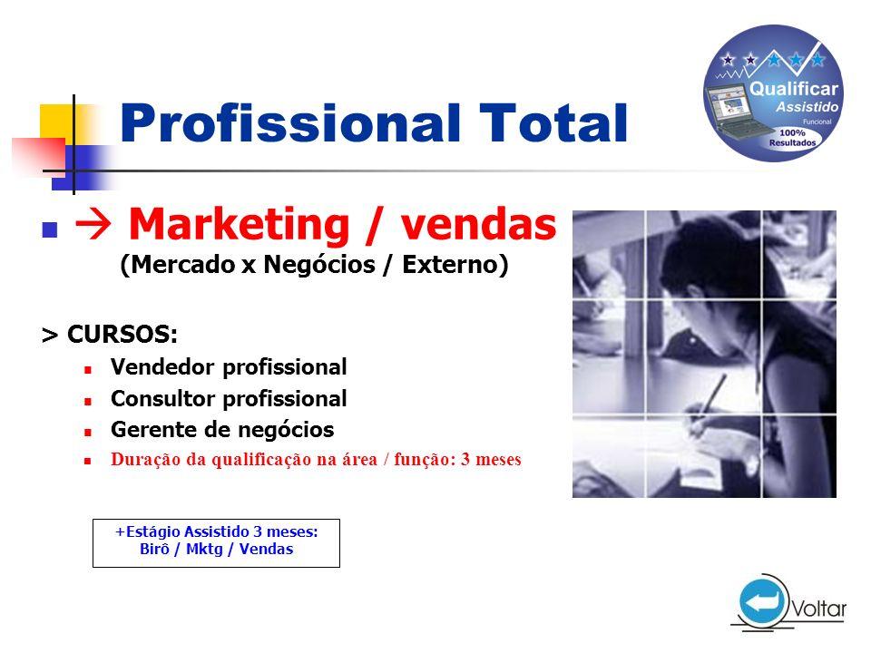 Profissional Total  Marketing / vendas (Mercado x Negócios / Externo)
