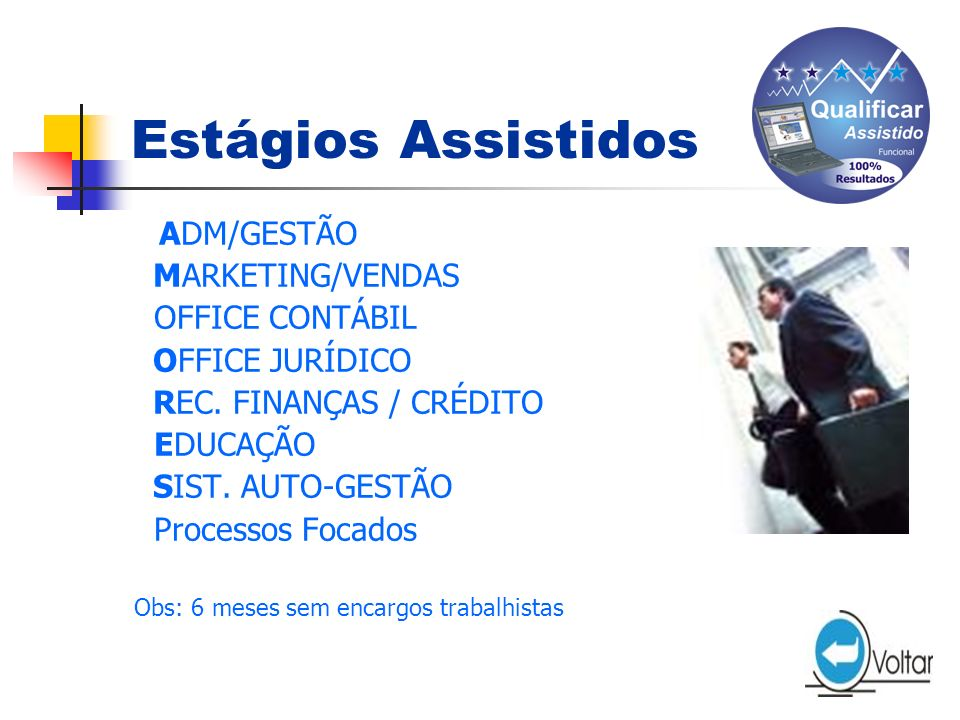 Estágios Assistidos MARKETING/VENDAS OFFICE CONTÁBIL OFFICE JURÍDICO