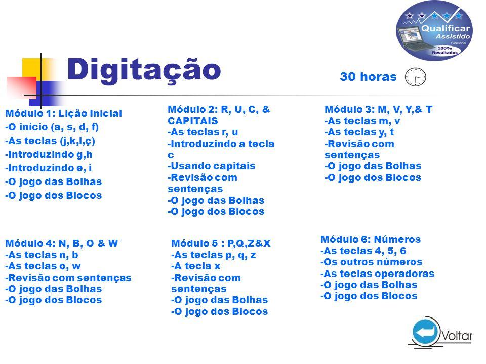 Digitação 30 horas Módulo 2: R, U, C, & CAPITAIS -As teclas r, u