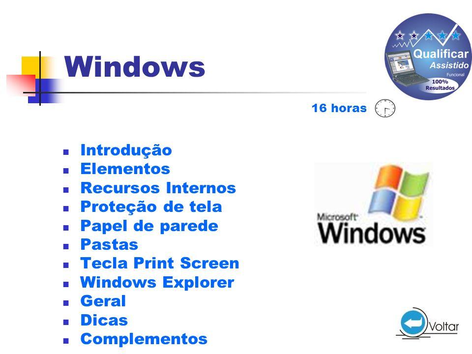 Windows Introdução Elementos Recursos Internos Proteção de tela