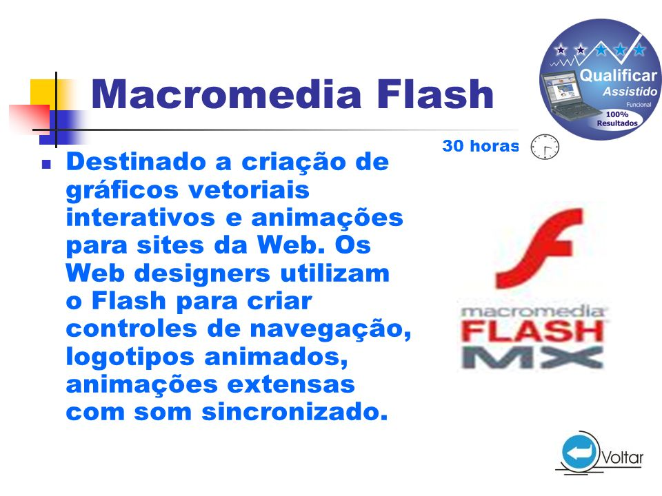 Macromedia Flash 30 horas.
