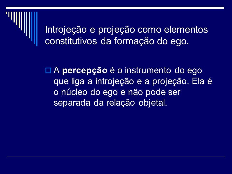 Introjeção e projeção como elementos constitutivos da formação do ego.
