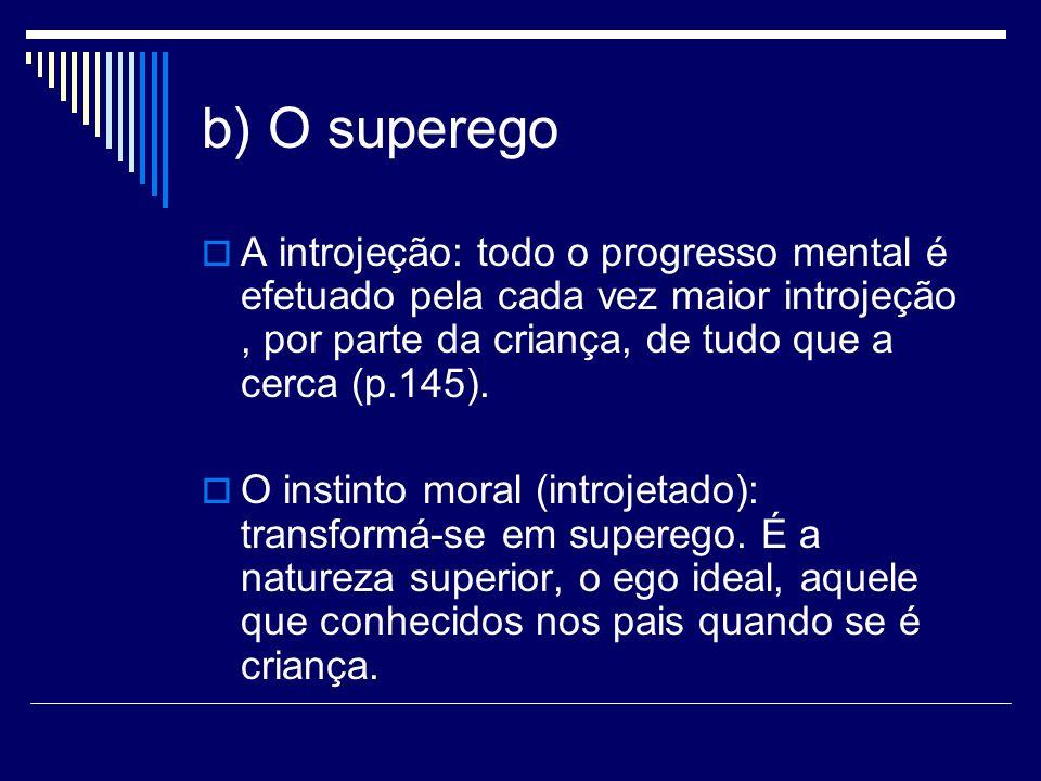 b) O superego A introjeção: todo o progresso mental é efetuado pela cada vez maior introjeção , por parte da criança, de tudo que a cerca (p.145).