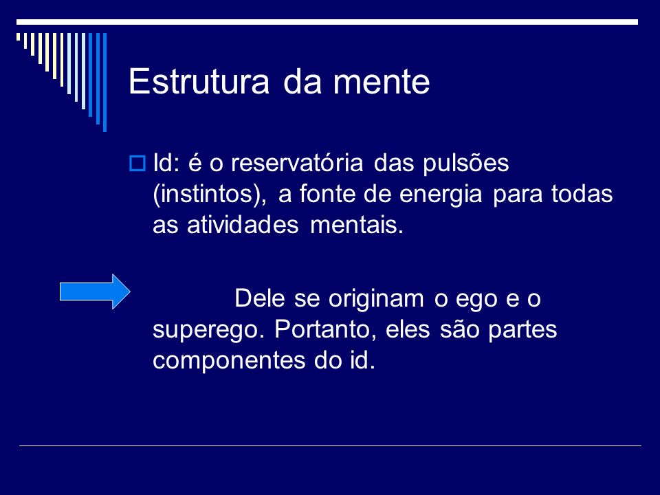 Estrutura da mente Id: é o reservatória das pulsões (instintos), a fonte de energia para todas as atividades mentais.