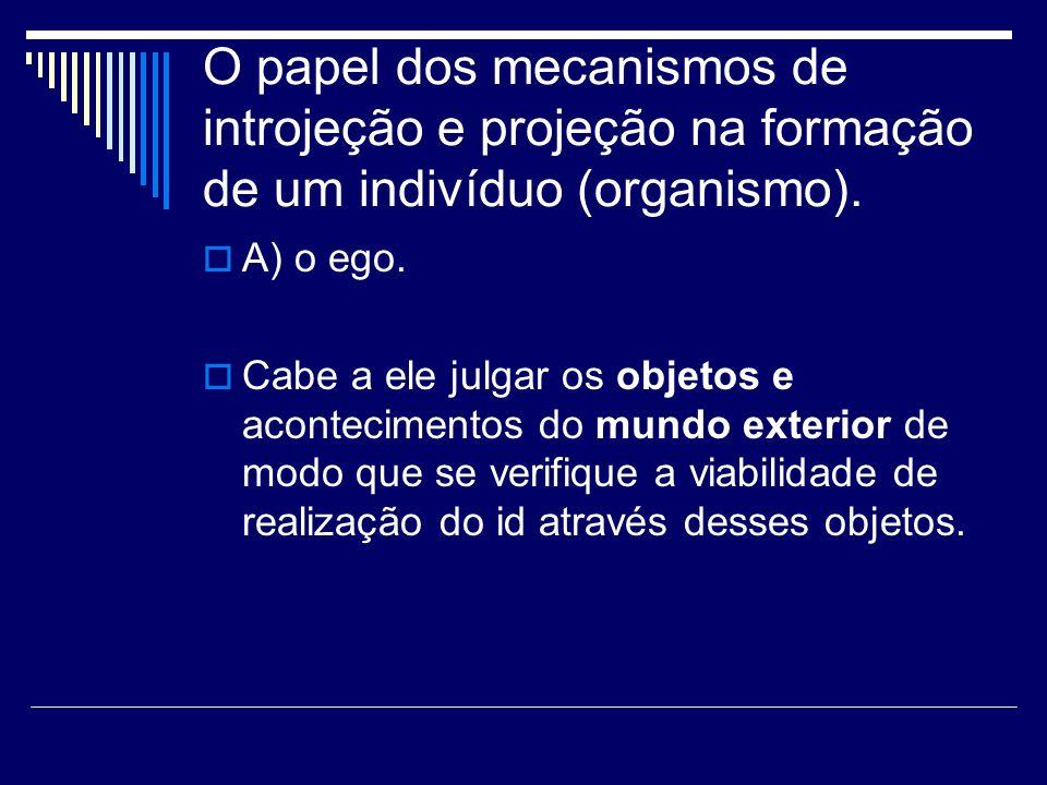 O papel dos mecanismos de introjeção e projeção na formação de um indivíduo (organismo).