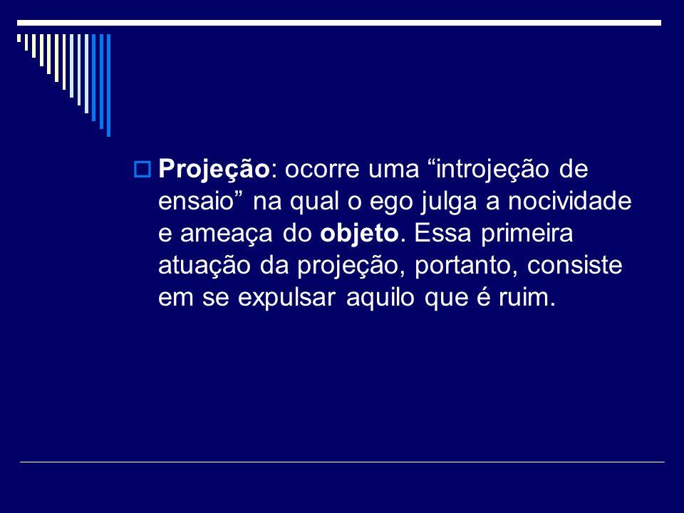 Projeção: ocorre uma introjeção de ensaio na qual o ego julga a nocividade e ameaça do objeto.