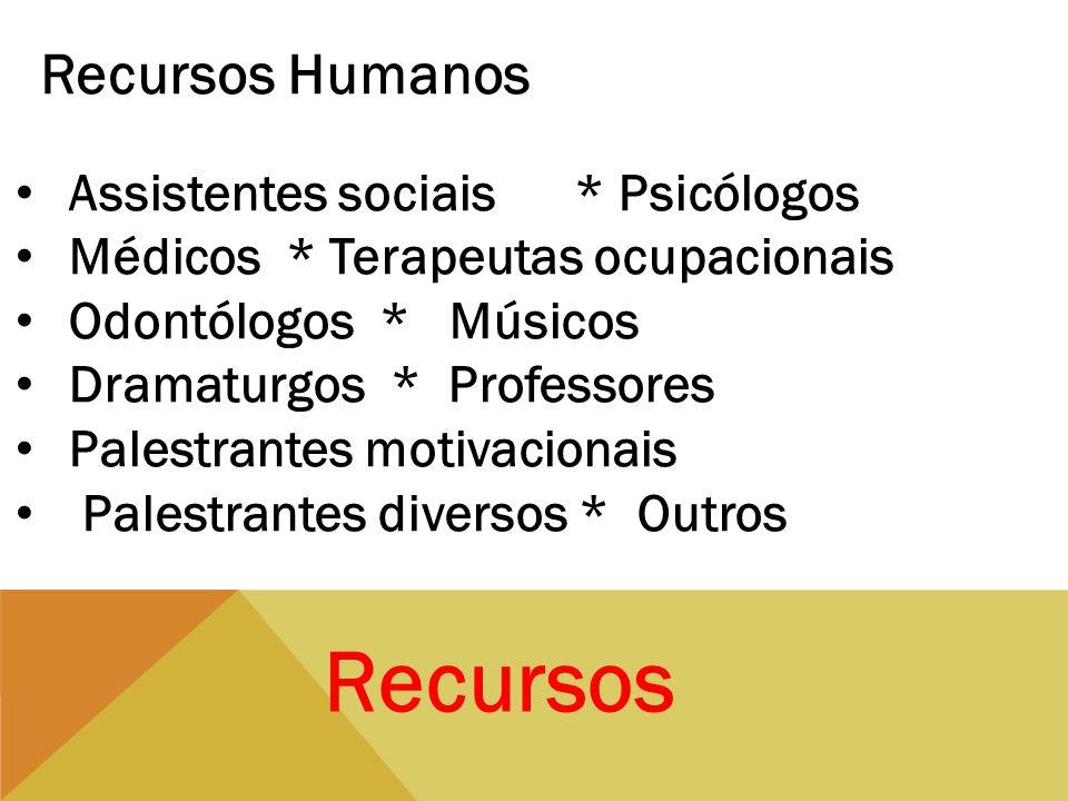 Recursos Recursos Humanos Assistentes sociais * Psicólogos