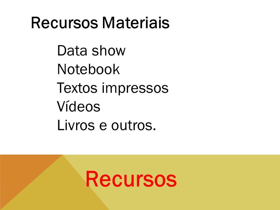 Recursos Recursos Materiais Data show Notebook Textos impressos Vídeos