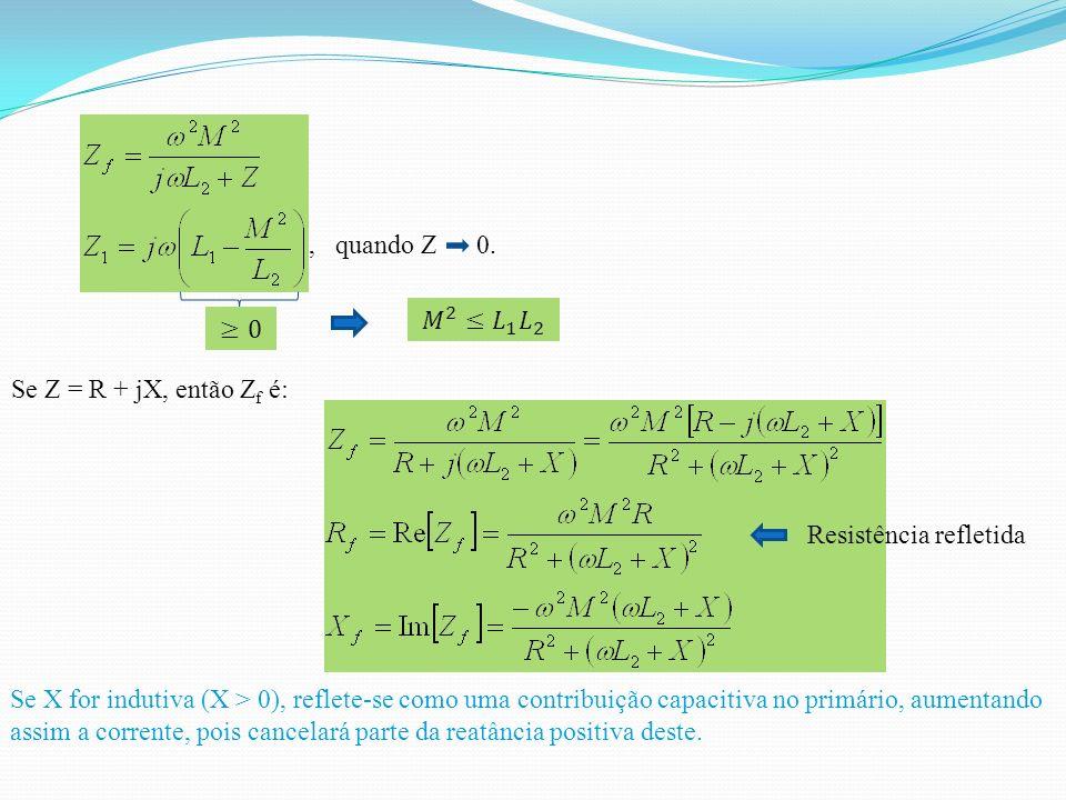 , quando Z 0. 𝑀 2 ≤ 𝐿 1 𝐿 2. ≥0. Se Z = R + jX, então Zf é: Resistência refletida.