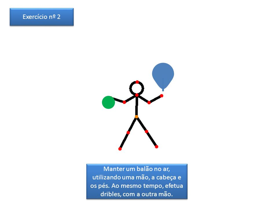 Exercício nº 2 Manter um balão no ar, utilizando uma mão, a cabeça e os pés.