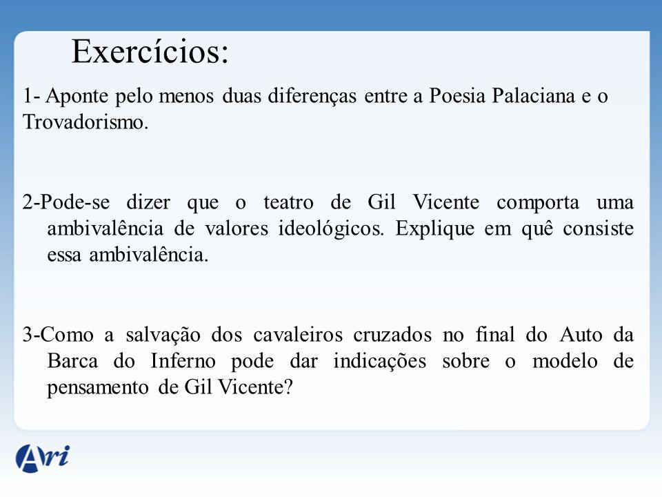 Exercícios: 1- Aponte pelo menos duas diferenças entre a Poesia Palaciana e o. Trovadorismo.