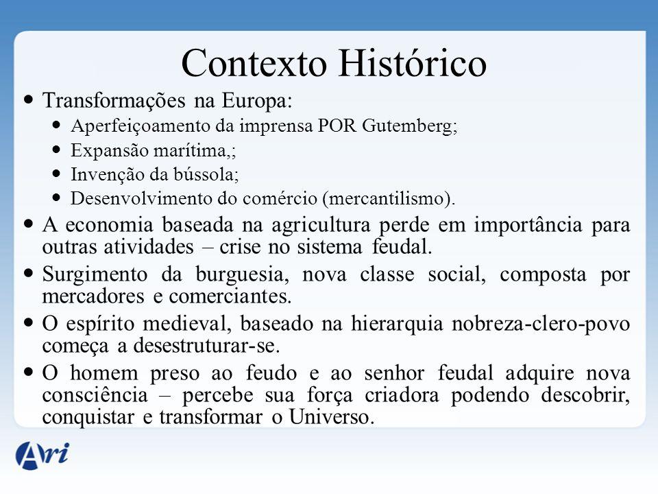 Contexto Histórico Transformações na Europa: