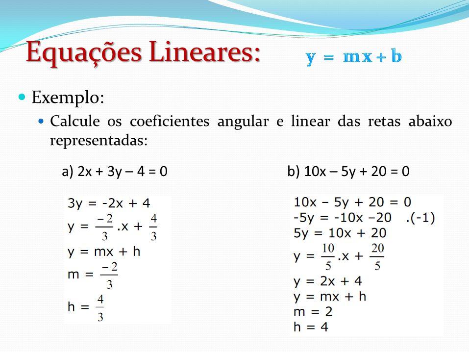 Equações Lineares: y = m x + b Exemplo: